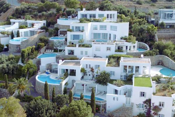 Aerial view on the property and the villas at Elounda Gulf Villas on Crete