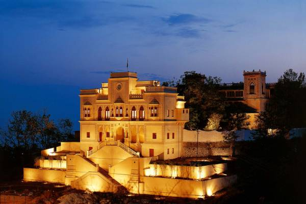 View on the illuminated palace of Ananda in the Himalayas at night