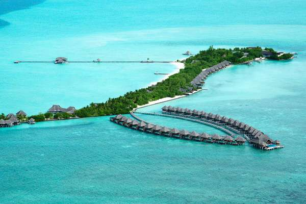 Aerial view on the Taj Exotice Resort & Spa, located on a private island