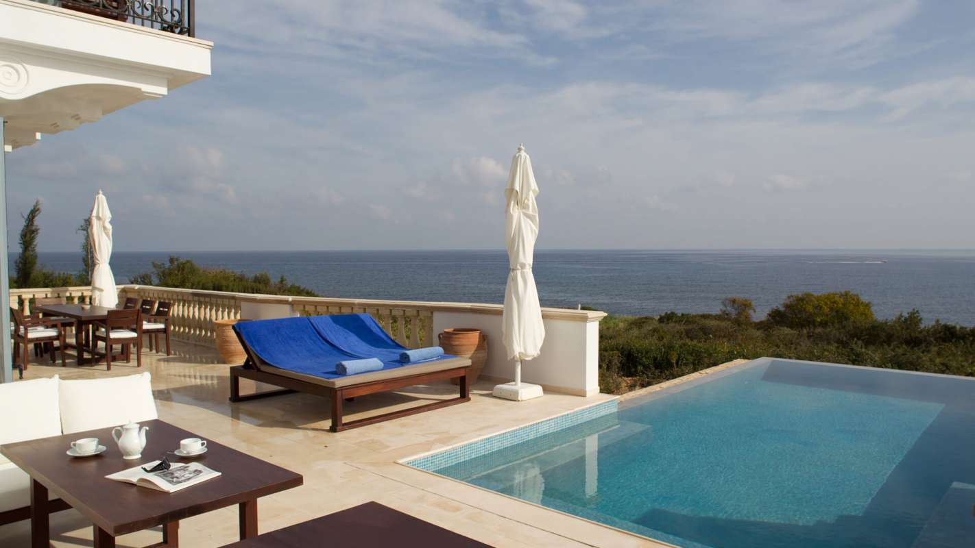 View on the infinity pool of the aether suite at Anassa hotel