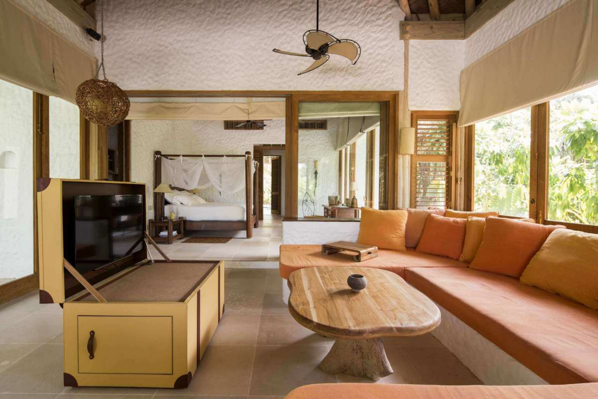 View on the interior of the living space of a Family Villa at Soneva Fushi