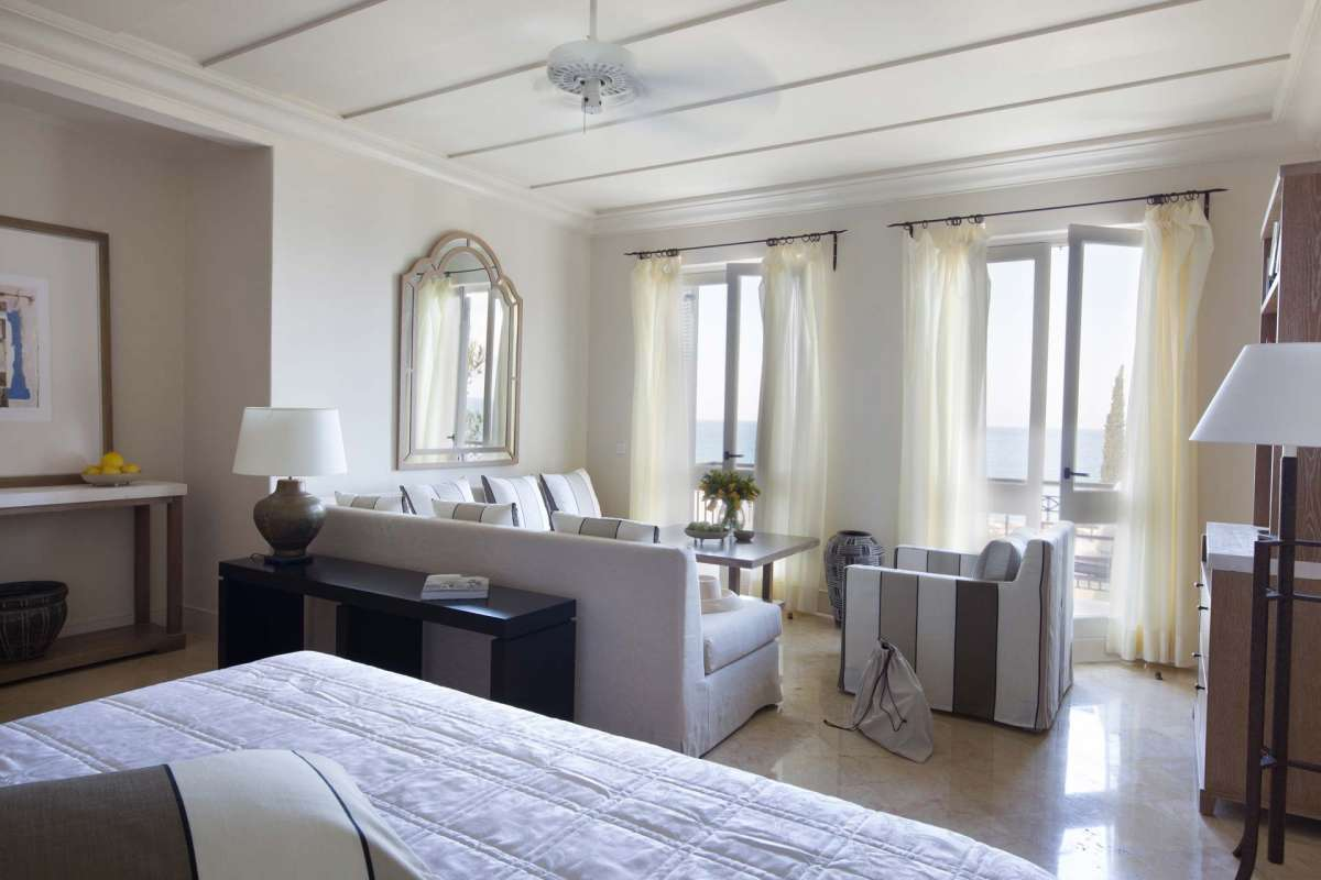 View into one of the junior suites at Anassa hotel
